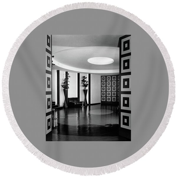 Reception Hall At The Terrace Club Round Beach Towel