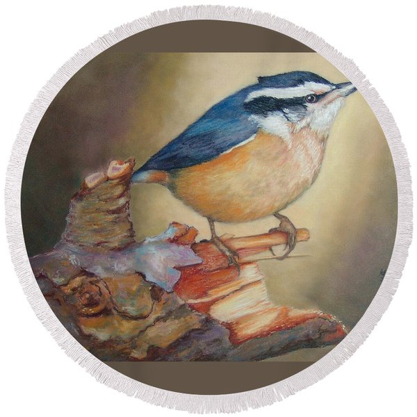 Red-breasted Nuthatch Bird Round Beach Towel
