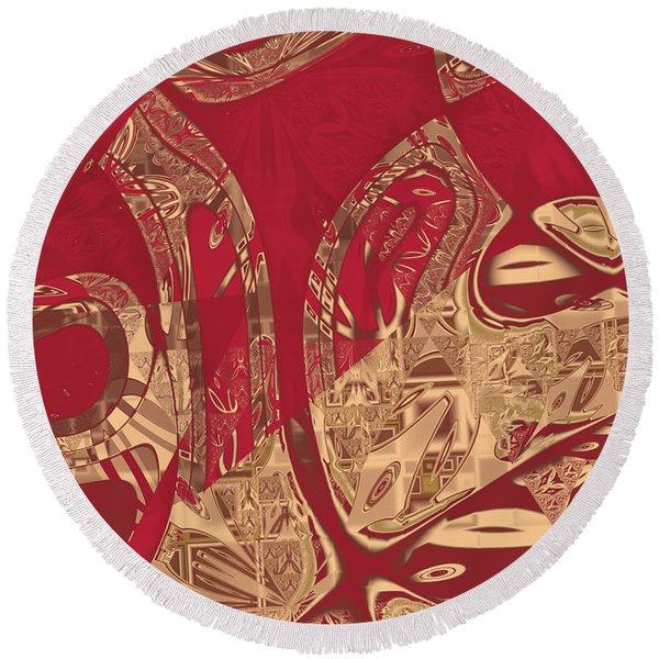 Red Geranium Abstract Round Beach Towel