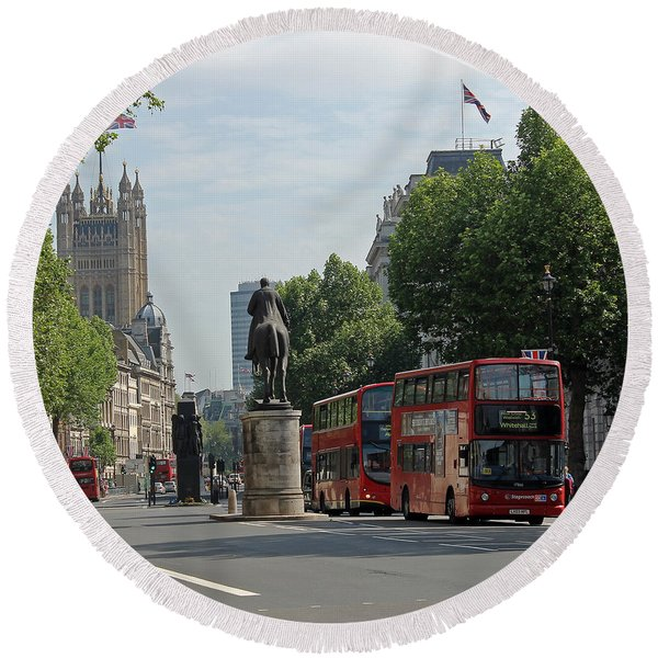 Red London Bus In Whitehall Round Beach Towel