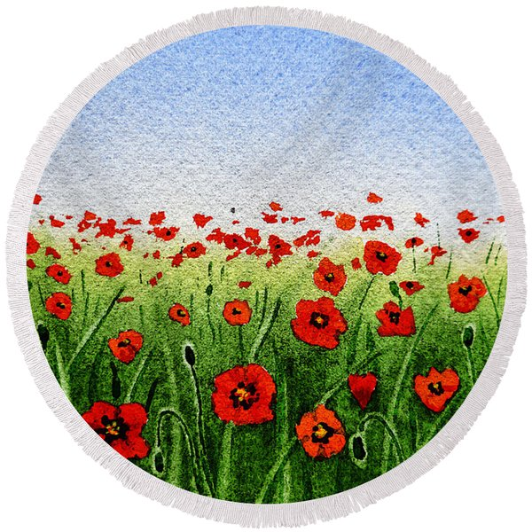 Red Poppies Green Field And A Blue Blue Sky Round Beach Towel