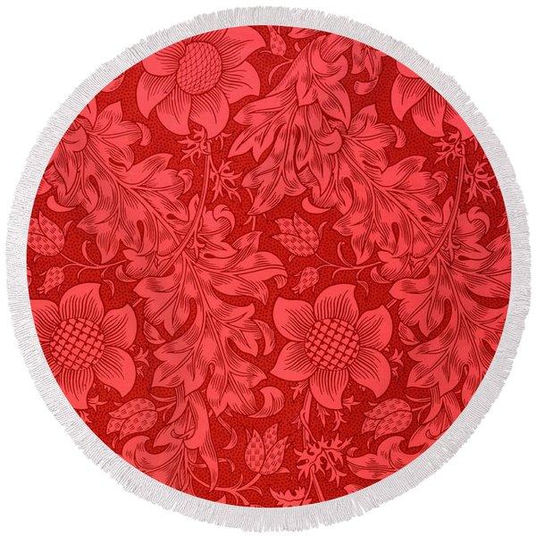 Red Sunflower Wallpaper Design, 1879 Round Beach Towel