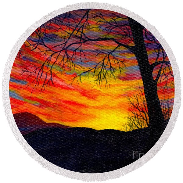 Round Beach Towel featuring the painting Red Sunset by Nancy Cupp