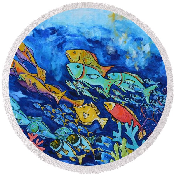 Reef Fish Round Beach Towel