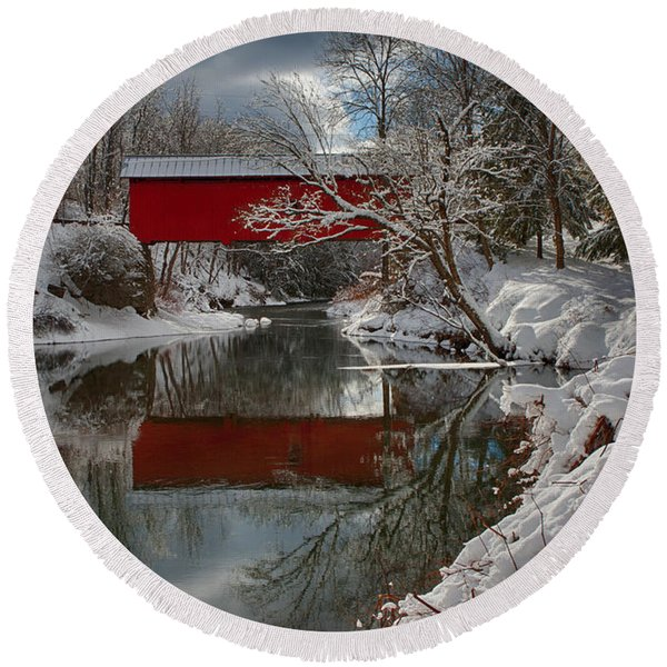 reflection of Slaughterhouse covered bridge Round Beach Towel