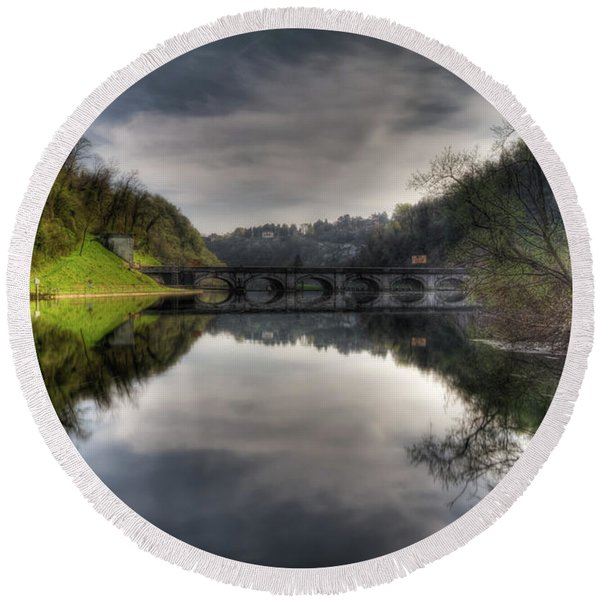 Reflections On Adda River Round Beach Towel