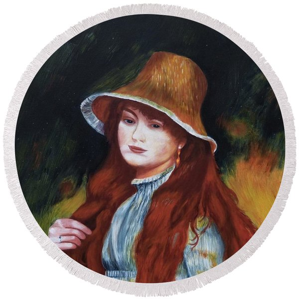 Renoir-young Girl In A Straw Hat Round Beach Towel