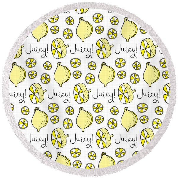 Repeat Prtin - Juicy Lemon Round Beach Towel
