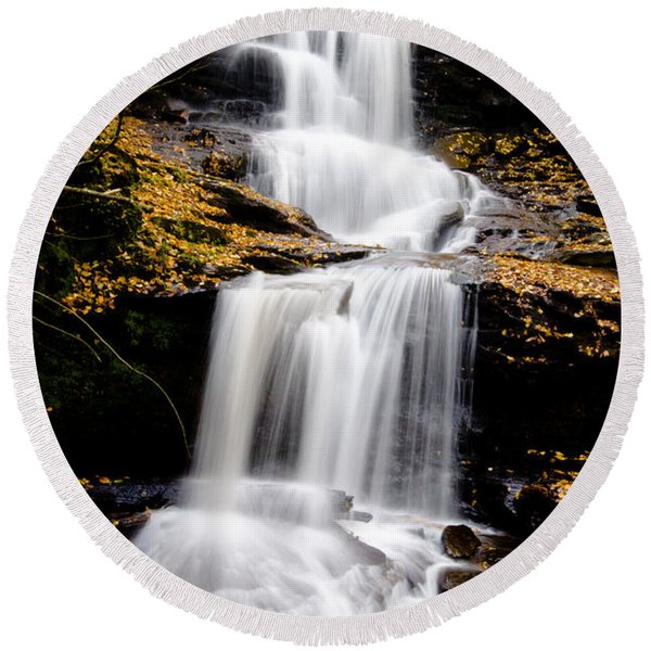 Ricketts Glen Three Tiered Waterfall Round Beach Towel