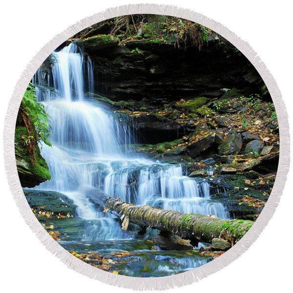 Ricketts Glen Hidden Waterfall Round Beach Towel