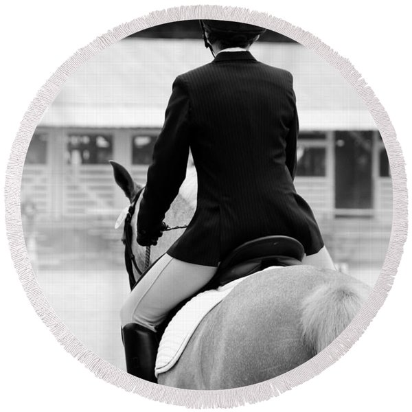 Rider In Black And White Round Beach Towel