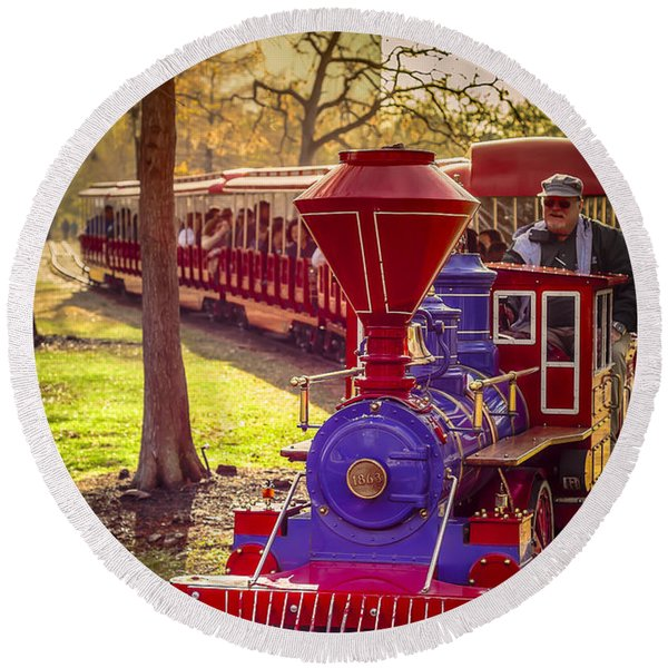 Riding Out Of The Sunset On The Hermann Park Train Round Beach Towel
