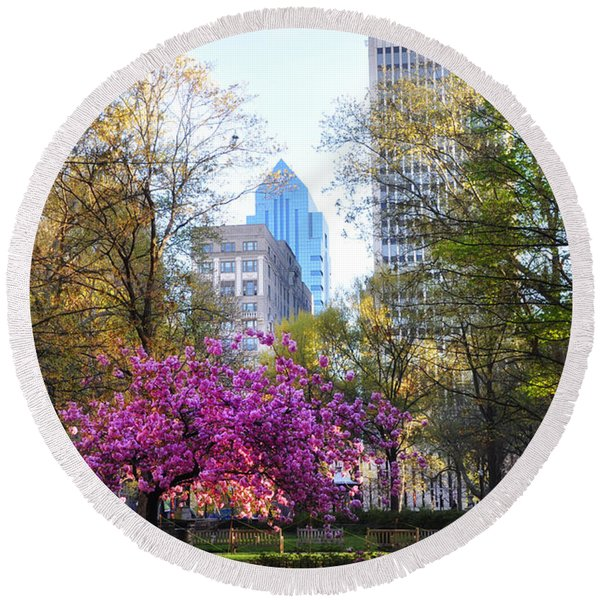 Round Beach Towel featuring the photograph Rittenhouse Square In Springtime by Bill Cannon
