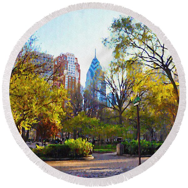 Round Beach Towel featuring the photograph Rittenhouse Square In The Spring by Bill Cannon