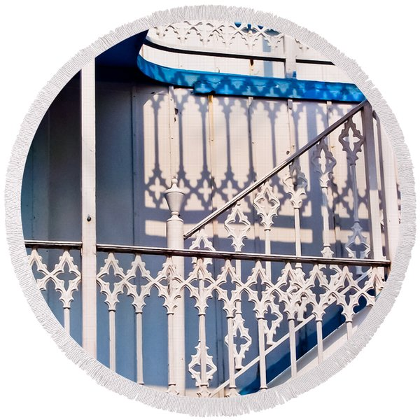 Riverboat Railings Round Beach Towel
