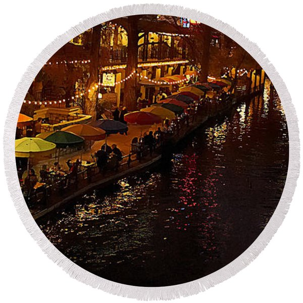 Riverwalk Night Round Beach Towel