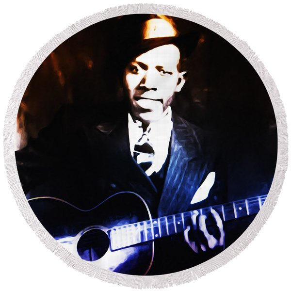 Round Beach Towel featuring the photograph Robert Johnson - King Of The Blues by Bill Cannon