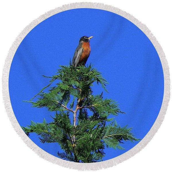 Robin Christmas Tree Topper Round Beach Towel