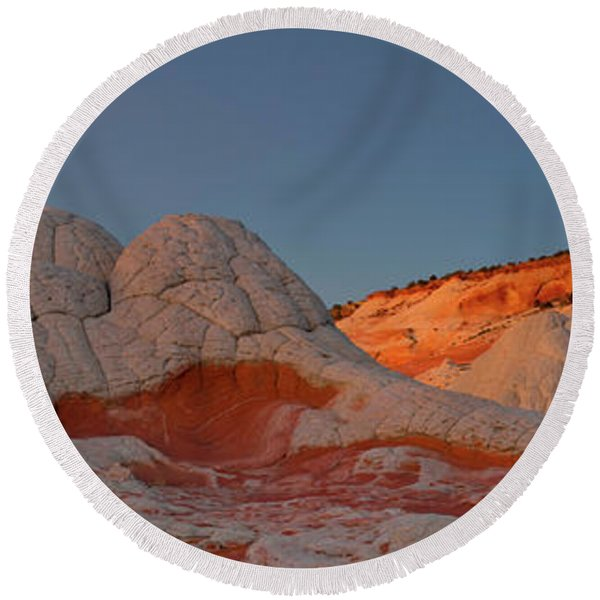 Rock Formations On A Landscape, White Round Beach Towel