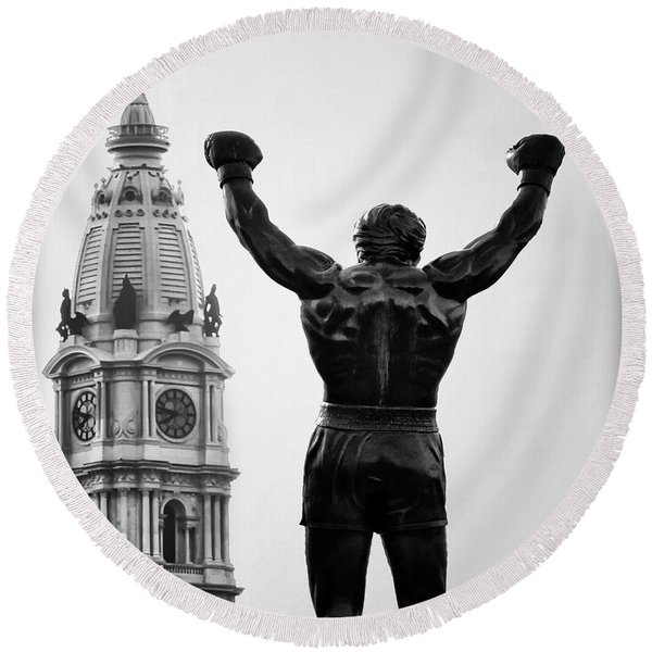 Round Beach Towel featuring the photograph Rocky And Philadelphia by Bill Cannon