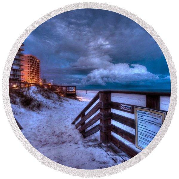 Romar Beach Clouds Round Beach Towel
