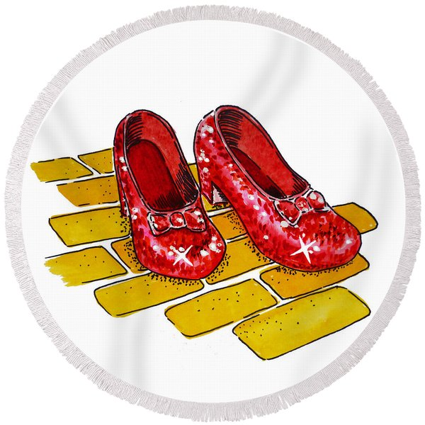 Ruby Slippers The Wizard Of Oz  Round Beach Towel