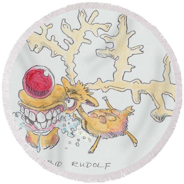 Rudolph The Reindeer Cartoon Round Beach Towel