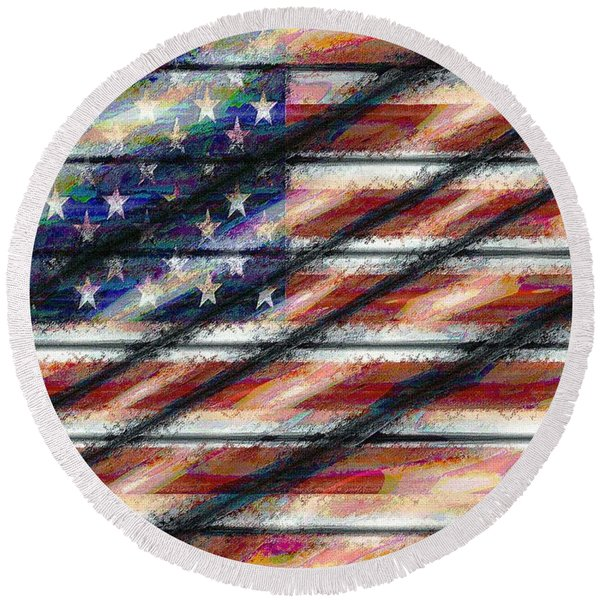 Rustic Usa Round Beach Towel
