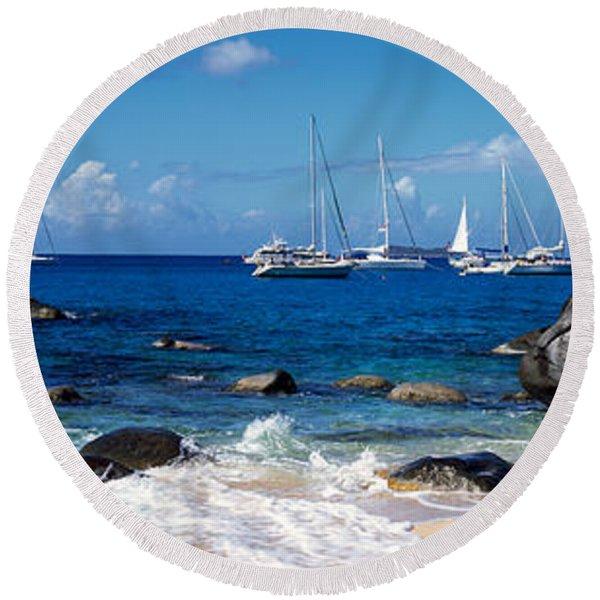 Sailboats In The Sea, The Baths, Virgin Round Beach Towel
