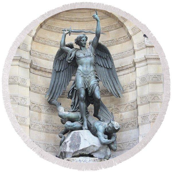 Saint Michael The Archangel In Paris Round Beach Towel