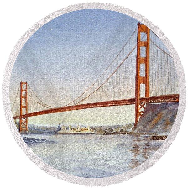 San Francisco California Golden Gate Bridge Round Beach Towel