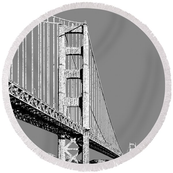 San Francisco Skyline Golden Gate Bridge 2 - Pewter Round Beach Towel