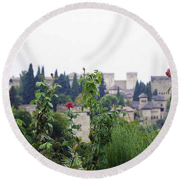San Nicolas View Of The Alhambra On A Rainy Day - Granada - Spain - Spain Round Beach Towel