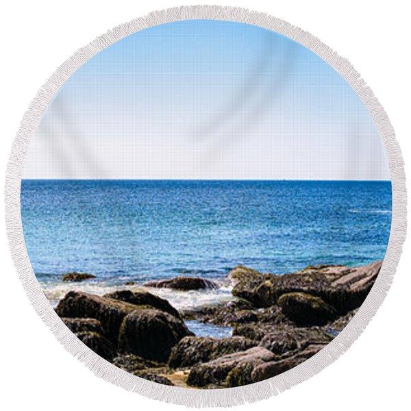 Sand Beach Rocky Shore   Round Beach Towel