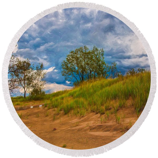 Sand Dunes At Indian Dunes National Lakeshore Round Beach Towel