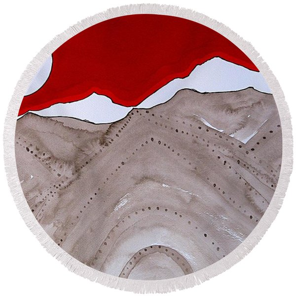 Sangre De Cristo Peaks Original Painting Round Beach Towel
