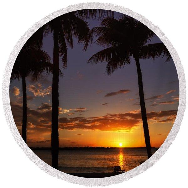 Sanibel Island Sunset Round Beach Towel