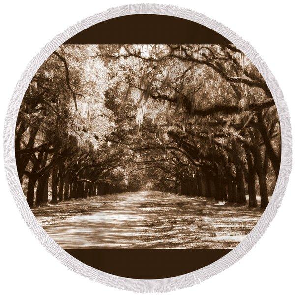 Savannah Sepia - The Old South Round Beach Towel