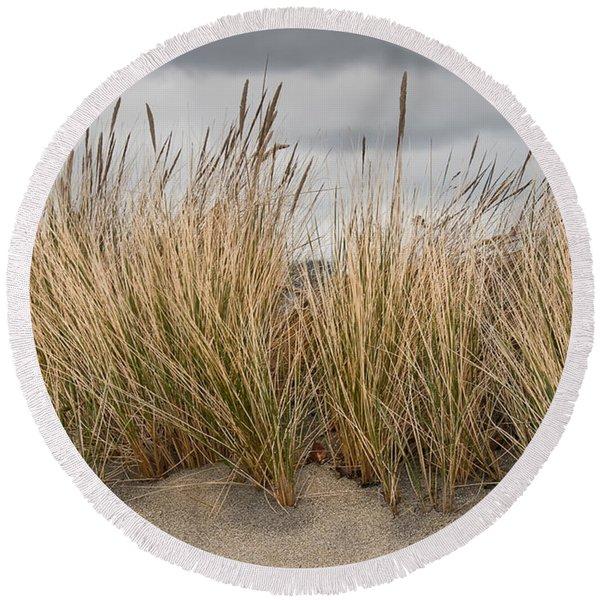 Sea Grass And Sand Round Beach Towel