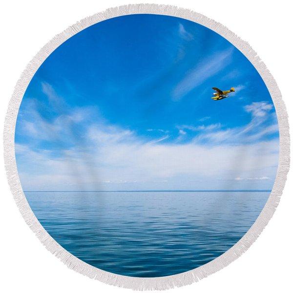 Seaplane Over Lake Superior   Round Beach Towel