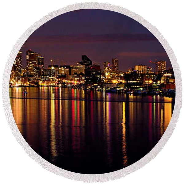 Seattle Night Reflections Round Beach Towel