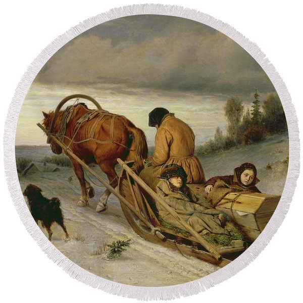 Seeing Off The Dead, 1865 Oil On Canvas Round Beach Towel