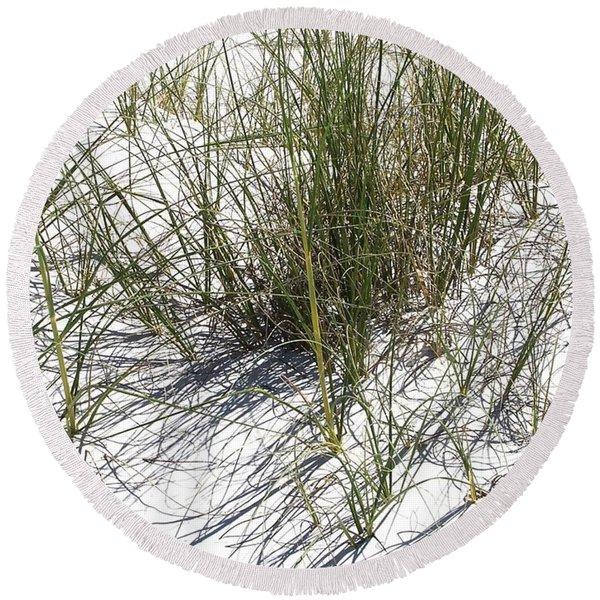 Shadow Grass Round Beach Towel