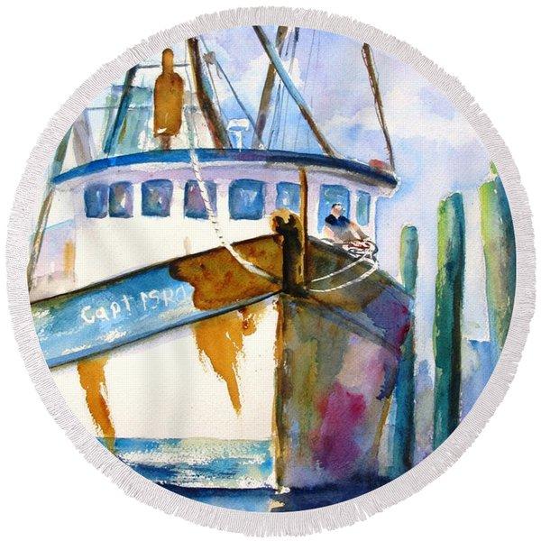 Shrimp Boat Isra Round Beach Towel