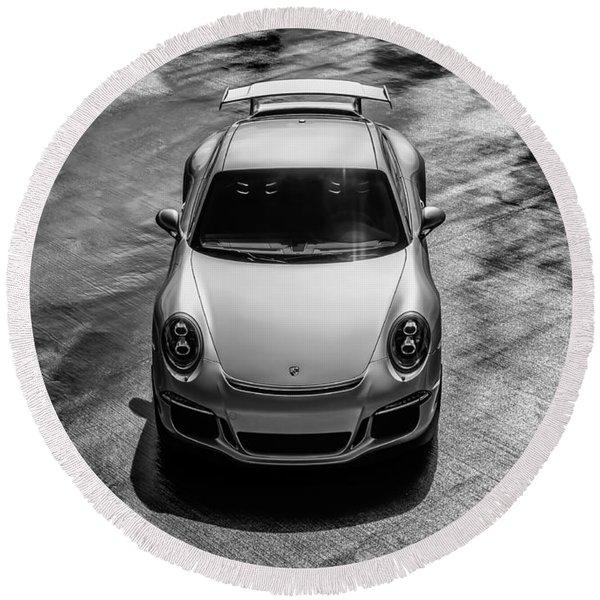 Silver Porsche 911 Gt3 Round Beach Towel