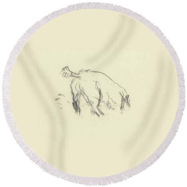 Sketch Of A Dog Digging A Hole Round Beach Towel