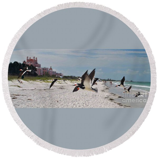 Black Skimmers At Don Cesar Round Beach Towel
