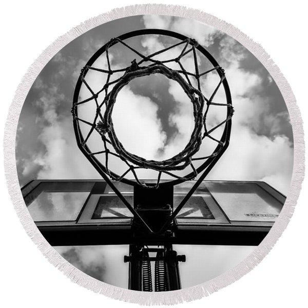 Sky Hoop Basketball Time Round Beach Towel
