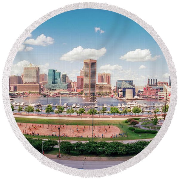 Skyscrapers In A City, Inner Harbor Round Beach Towel