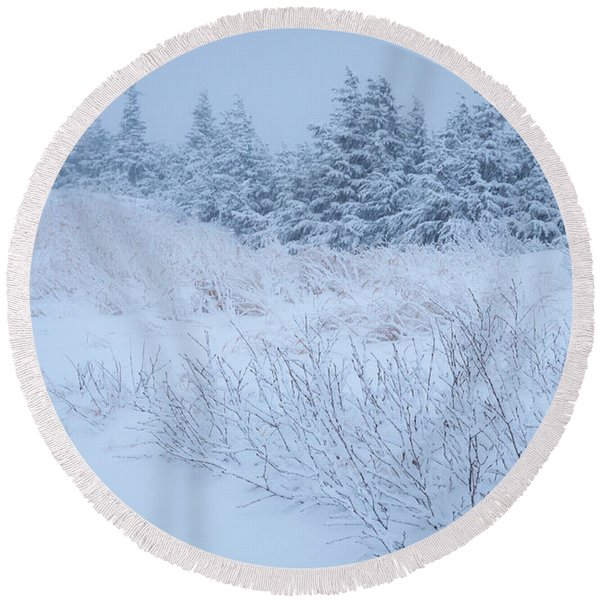 Round Beach Towel featuring the photograph Snow On New Years Eve by Tim Newton